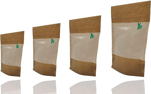 Totalmente biodegradables ventana STAND UP bolsa sellables Grip ...