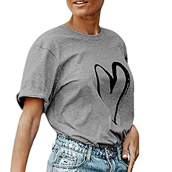 LILICAT® Blusas deportivas sueltas para mujer Loose summer Camiseta estampada Love Ladies Blusas manga corta