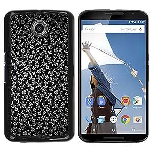 Caucho caso de Shell duro de la cubierta de accesorios de protección BY RAYDREAMMM - Motorola NEXUS 6 / X / Moto X Pro - Flowers Grey Wallpaper Black Garden