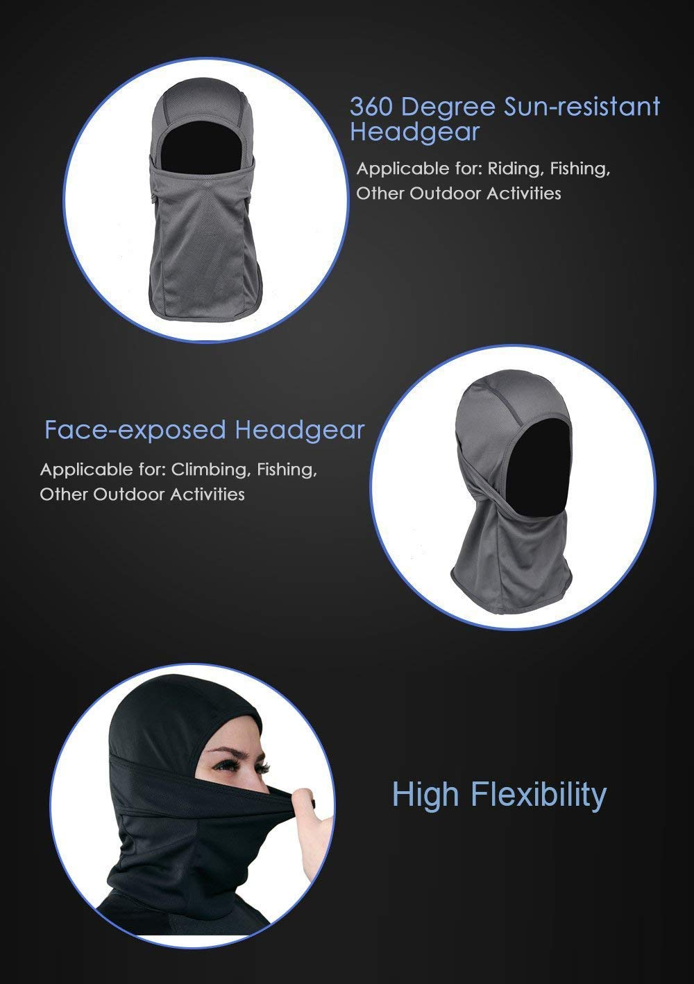 Ohequbao Balaclava Face Mask Windproof Ski Mask Motorcycle Cycling Bike,Neck Warmer Tactical Balaclava Hood Polyester Fleece for Women Men Youth Kids 2 Pack Black