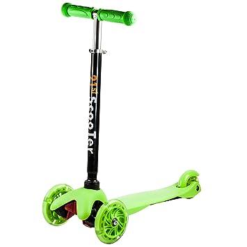 Patinete de 3 ruedas con luz ruedas para niños ajustable T ...