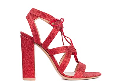 29cf2066a4c Amazon.com | Gianvito Rossi Womens Red Glitter Caged Lace Up Sandal ...