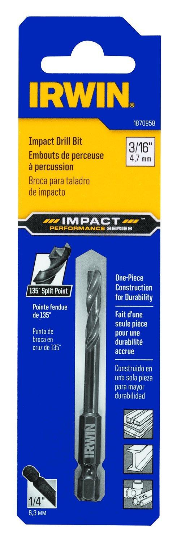 IRWIN Tools 1870958 Impact Performance Series Black Oxide 135-Degree Split-Point Drill Bit, 3/16-Inch