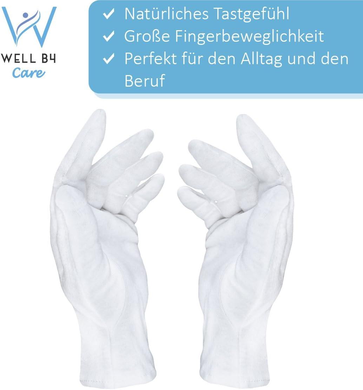 Dermatest: Excelente - Well B4® Care Guantes de algodón, guantes de hilo hechos de 100% algodón para su protección cuando tenga la piel seca, 3 pares, guantes blancos, S: Amazon.es: Belleza