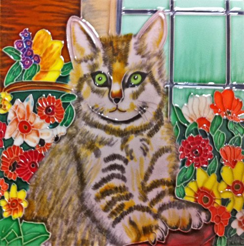 Continental Art Center BD-2034 8 by 8-Inch Cat in a Basket Ceramic Art Tile from Continental Art Center