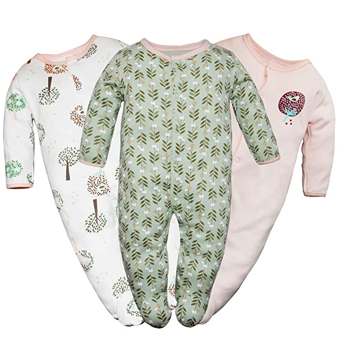 Baby Girls Footed Pajamas 3-Pack Cotton Infant Overall Sleeper and Play 6-9M best infant pajamas