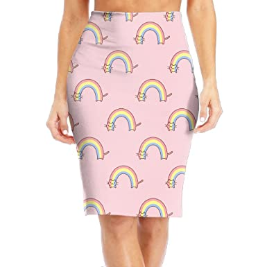TO-JP Women s Classic Funny Rainbow Cat Long Pencil Skirt Knee ... febe6768fa