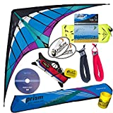 Prism Hypnotist Stunt Kite Mega Tube Tail Strap Bundle (5 Items) + Prism 75ft Tube Tail + Peter Lynn HD Padded Strap Handles Pair + DVD + WindBone Kiteboarding Lifestyle Stickers + Key Fob (Ice)