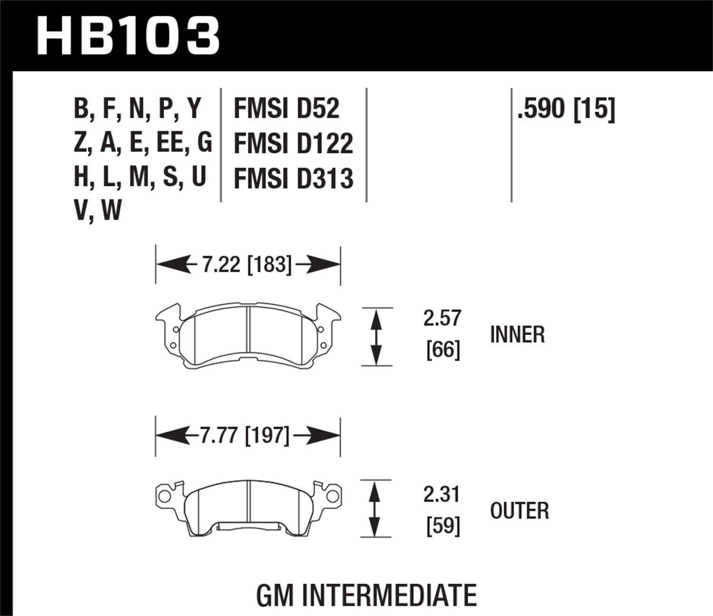 Hawk Performance Hb103f590 Hps Ceramic Rear Brake Shoe Diagram Chevelle Tech Pad Automotive
