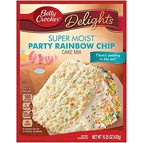 Betty Crocker Delights Super Moist Party Rainbow Chip Cake Mix 15.25 oz (Pack of 2) - Betty Crocker Chips