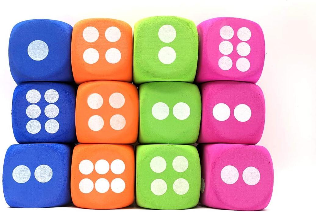4 Color,12PCS Qidiwin Jumbo EVA Dices Giant Dot EVA Foam Dices for Kids Building Blocks,Educational,Party Suppliers