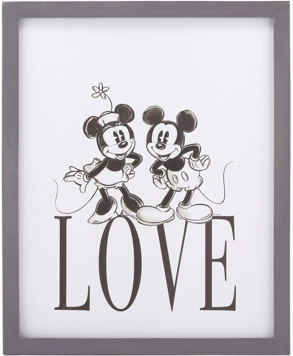 Open Road Brands Disney Mickey and Minnie 'Love' Wood Framed Wall Art - an Officially Licensed Product Great Small Gift and Addition to Add What You Love to Your Home/Bedroom Décor