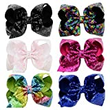 YHXX YLEN 6 Pcs 8 Inch Large Unicorn Bow Hairpin Girls Bows With Clip Hair Bows (Style 4)
