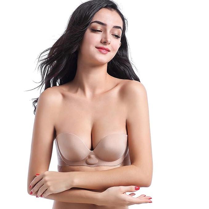Sujetador Adhesivo Sin Espalda de Silicona, ASHOP Pegatinas inflables del pecho del sujetador Para Mujer: Amazon.es: Ropa y accesorios