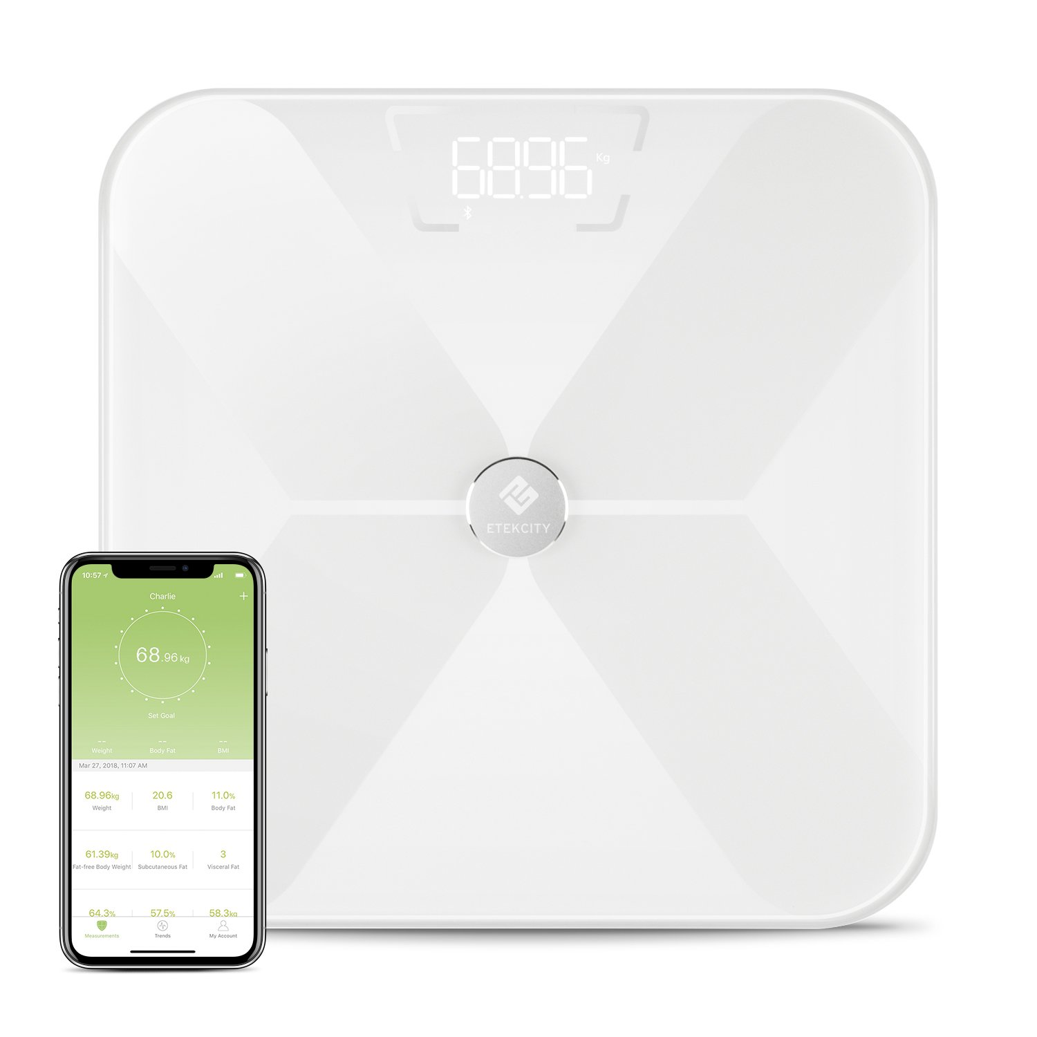 Etekcity Bluetooth Digital Body Fat Scales, Wireless Smart Weighing Weight Bathroom Scale, 180kg/ 400 lb / 28st, Up to 13 Body Composition Analysis Include Body Weight, Body Fat, Water, Muscle Mass, BMI, BMR, Bone Mass, Visceral Fat, etc. White 8179150211