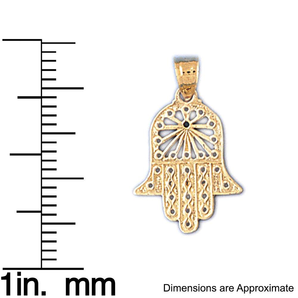 12mm x 20mm 14k Yellow Gold Chamsah Pendant