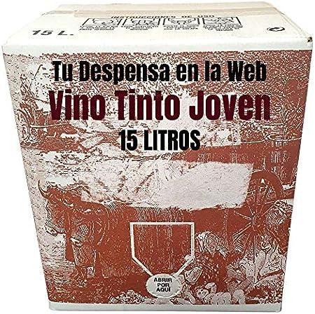 Vino Tinto joven - Bag in Box de 15 Litros - Elaborado con un 90% de tempranillos norteños mezclados con las viuras centenarias - Vino Tinto Bag in Box
