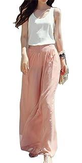 Damen Hosen Sommer Elegant LHWY Lady Breite Bein Chiffon Hohe Taille Hosen  Lange Lose Culottes Kleider c984cdd6e0