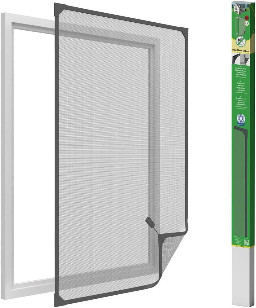 easy life Mosquitera para ventanas con cuadro magnético en PVC fácil de instalar - Sin necesidad de perforar y acortable individualmente, Color:Antracita, Talla:100 x 120 cm