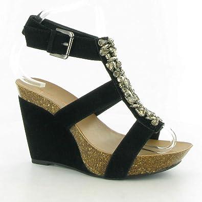 989aefb21e9 London Rebel - H473 Diamante Wedge Sandals, Black, 4 UK Adult ...
