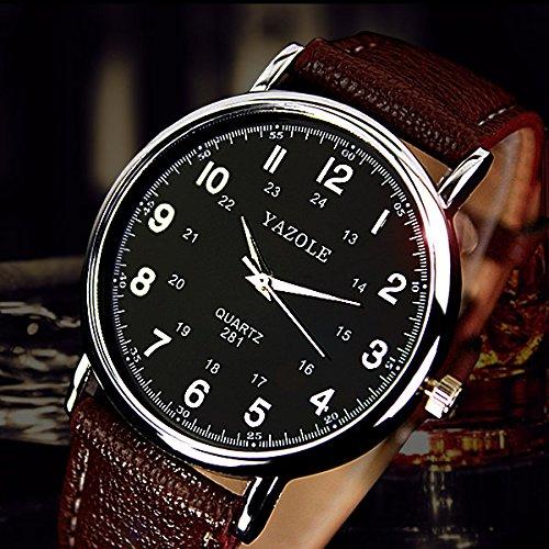 Yazole Slim negocio reloj reloj de pulsera de cuero de los hombres 24 horas Escala simple