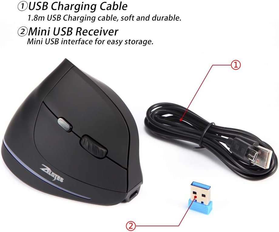2.4G Wireless Vertical Ergonomic Mouse with USB Receiver,1000//1600 //2400DPI,6 Buttons Mice for Laptop,PC,Desktop Black Zelotes Rechargeable Vertical Wireless Mouse