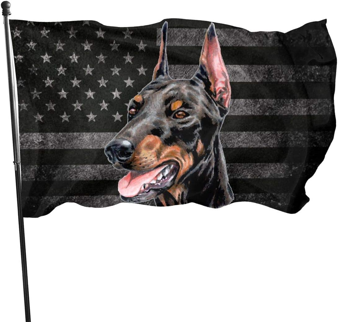 Gosawel 3x5 Flag Doberman Pinscher Dog Us Flag Indoor/Outdoor Banner Decorative Flag 100% Polyester Flag