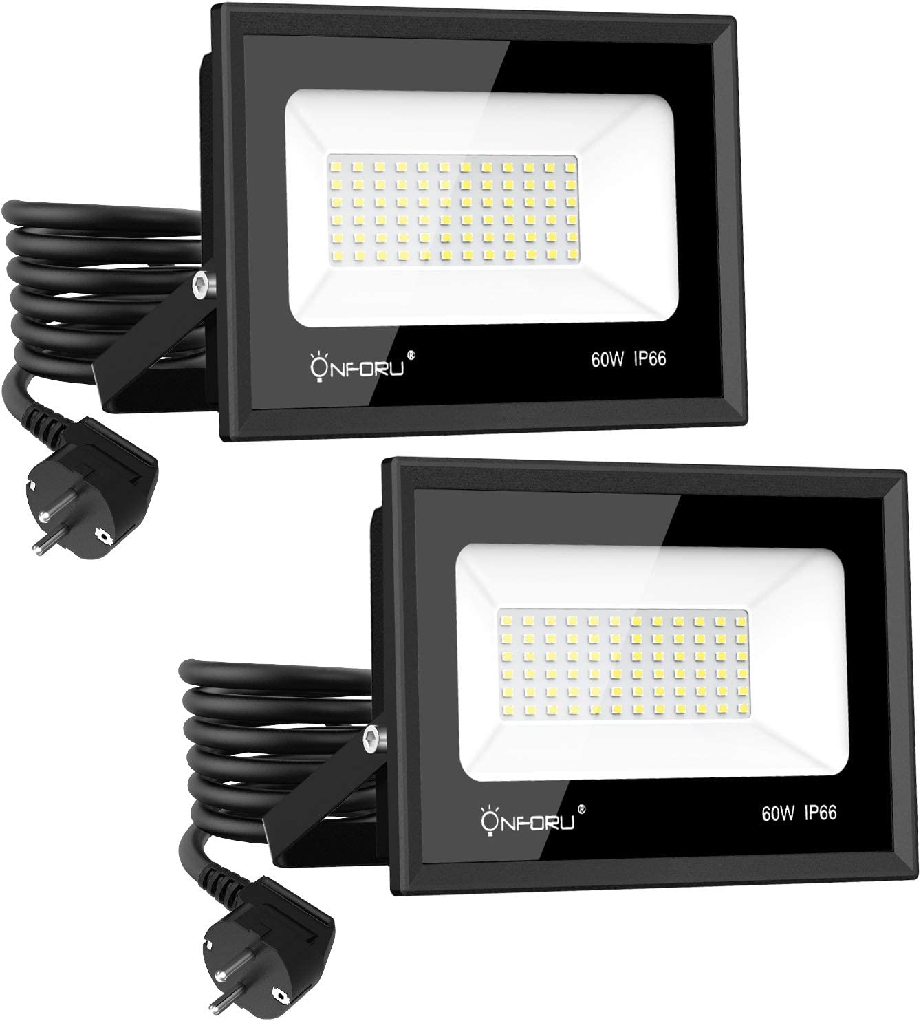 Onforu 60W Foco LED Exterior con Enchufe (2 Pack), 6500LM Super ...
