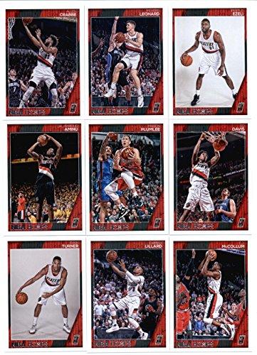 2016-17 Panini NBA Hoops Portland Trail Blazers Team Set of 9 Cards: Evan Turner(#27), Damian Lillard(#143), C.J. McCollum(#144), Al-Farouq Aminu(#145), Mason Plumlee(#146), Ed Davis(#147), Allen Crabbe(#248), Meyers Leonard(#249), Festus Ezeli(#254)