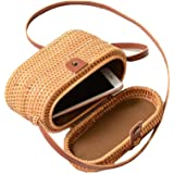 AMYPZN Handwoven Rattan Bag Handmade Bali Ata Straw Shoulder Bag Beach Summer Bag
