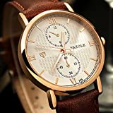 Mens Classic Leather Watch Simple Decorative Chronograph Window Wrist Watches for Men