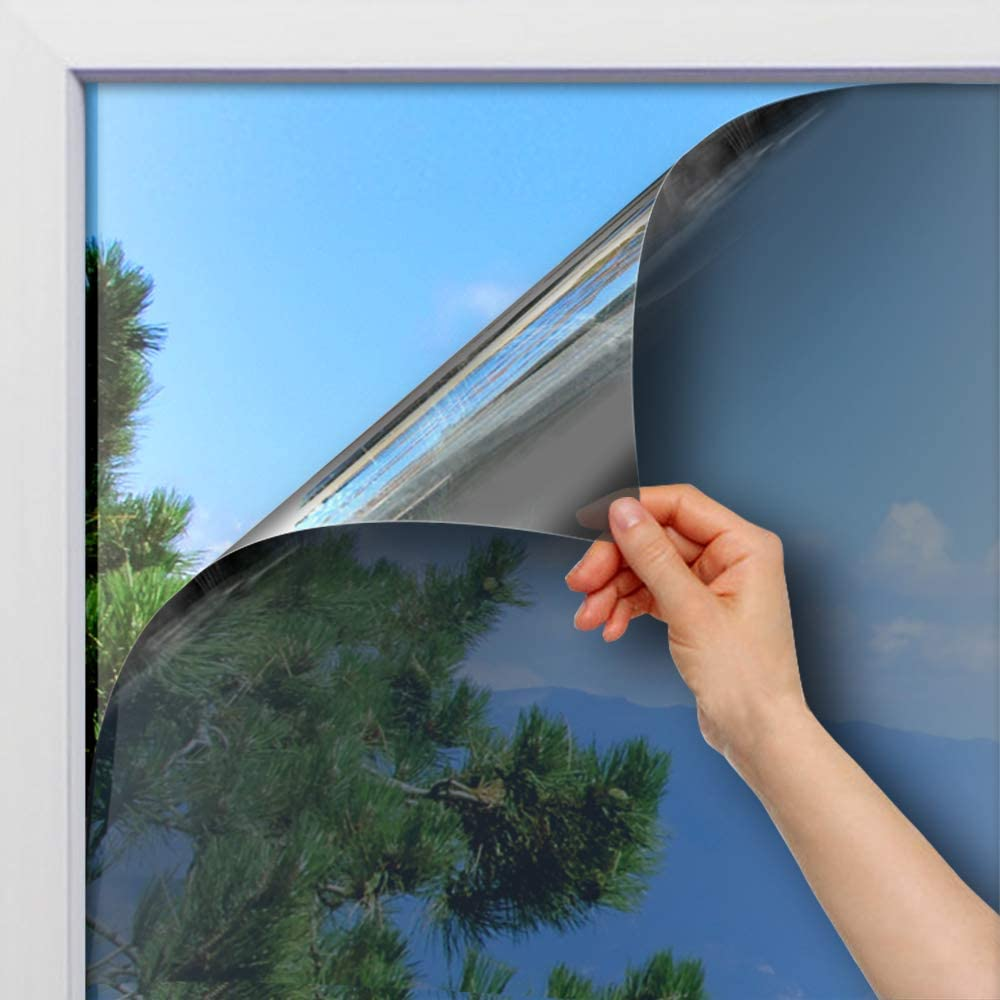 BDF 1SIL Static Cling Non-Adhesive One Way Heat Rejection Daytime Privacy Window Film, Silver - 35.4in X 22ft