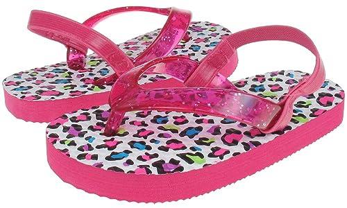 26930b5dfb Amazon.com   Capelli New York Glitter Jelly Thong on Leopard Print Toddler  Girls Flip Flops White Combo 4/5   Sandals