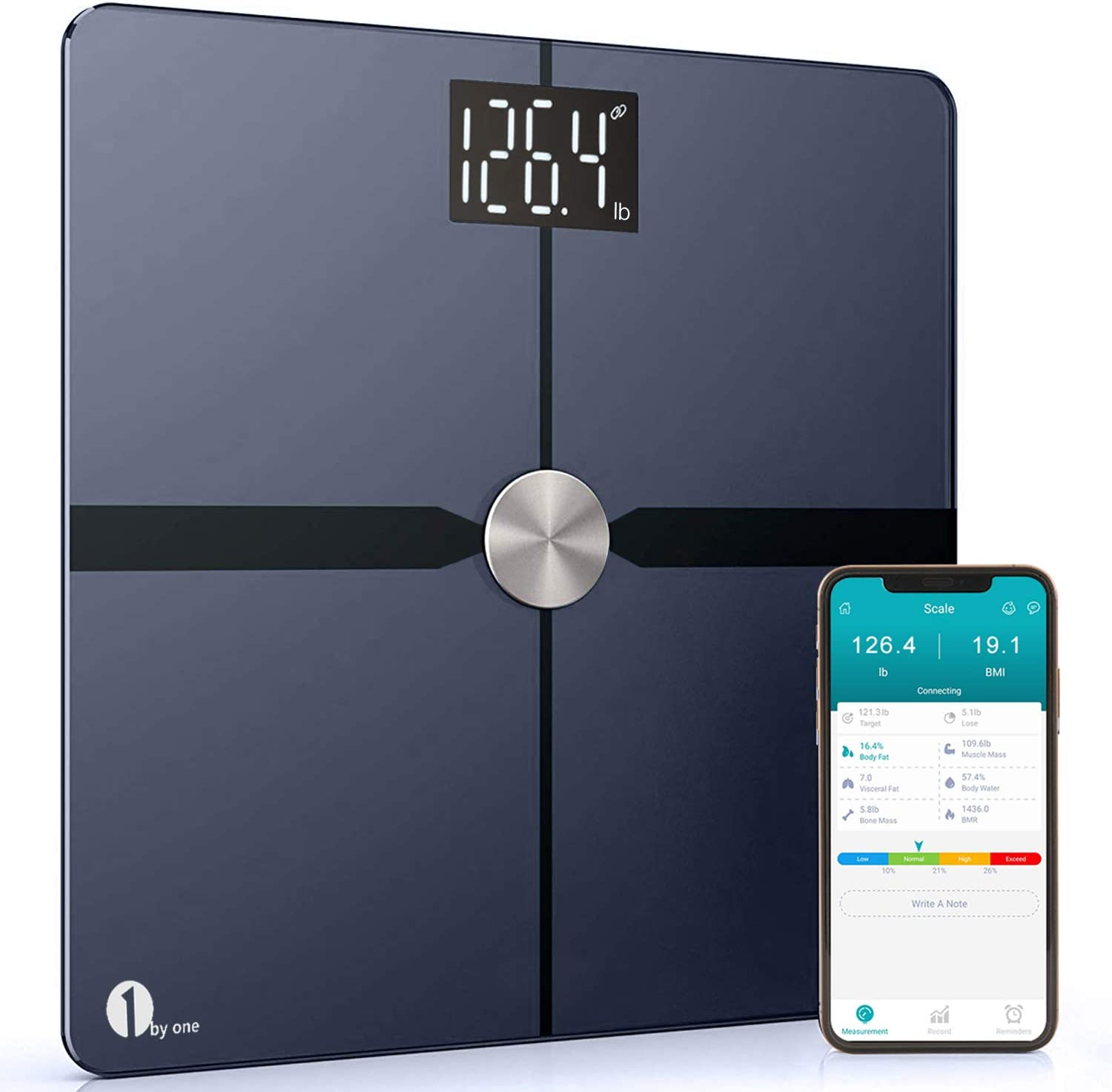 1byone Smart Bathroom Body Scale – Body Fat Scale with APP to Monitor 8 Essential Measurements, ITO Conductive Glass, FDA Approved Body Composition Analyzer Wireless BMI Weight Scale Black