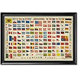 Black Wood Framed Print 11x17: National & Commercial Flags Of All Nations
