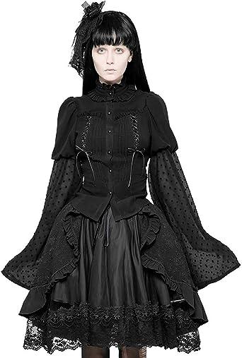 Punk Rave Pyon Mujer Negro Gótico Lolita Top Camisa Blusa Steampunker Victoriano - Negro, L - UK Womens Size 12: Amazon.es: Ropa y accesorios