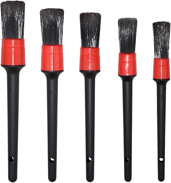 Amazon.com: Detailing Brush Set - 5 Different Sizes Premium Natural Boar Hair Mixed Fiber Plastic Handle Automotive Detail Brushes for Cleaning Wheels, Engine, Interior, Emblems, Air Vents, Car, Motorcy: Automotive