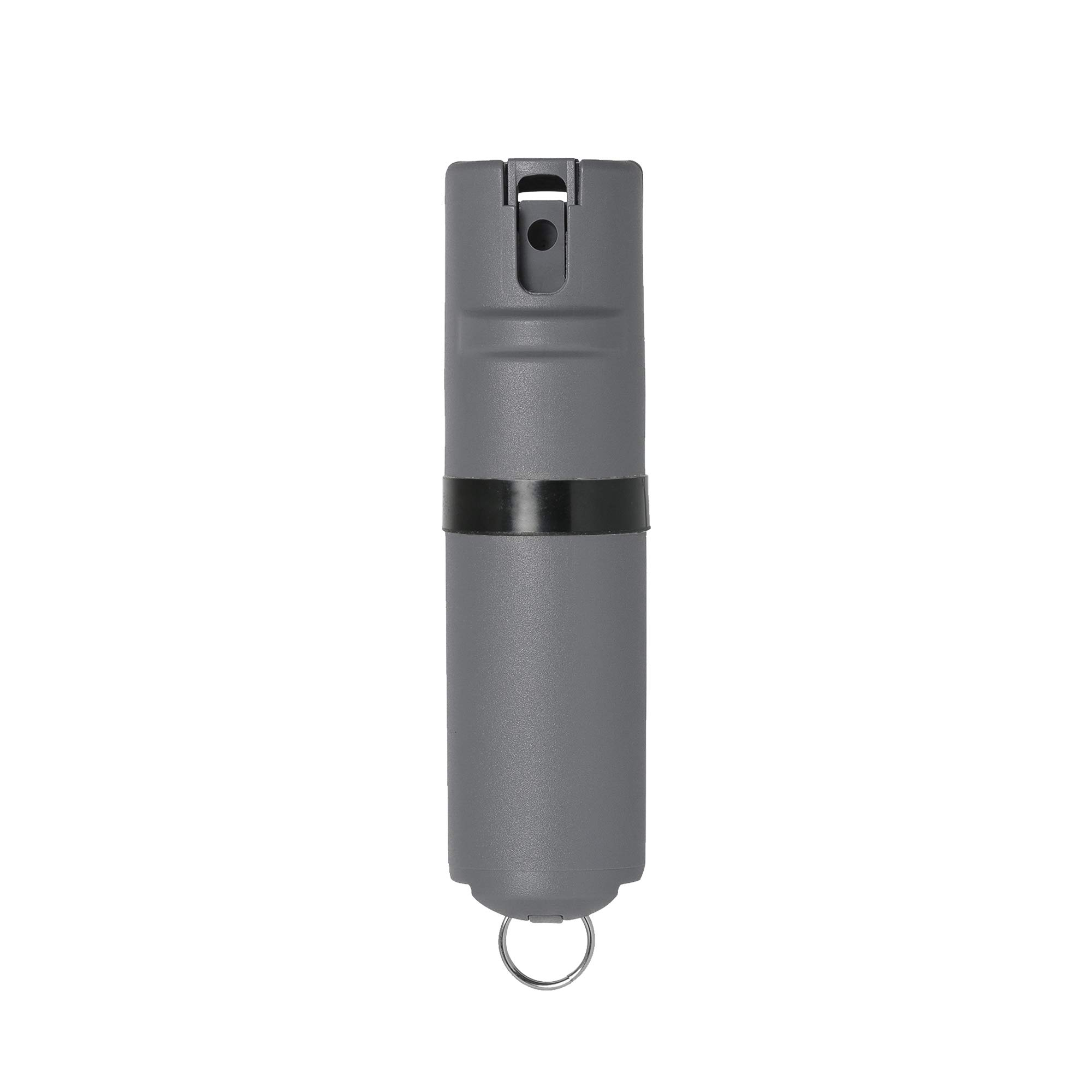 POM Grey Pepper Spray Keychain Model - Maximum Strength Self Defense OC Spray Safety Flip Top 10ft Range Compact Discreet for Keys Backpack Quick Key Release (Black) by POM