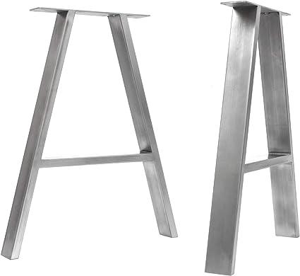 da 40 cm a 71 cm HLC Tavolo, Trasparente 2 x gambe da tavolo a trapezio in stile industriale Saldatura TIG con viti GRATUITE guida al montaggio e protezioni per pavimenti