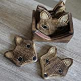 Lot de 6 dessous-de-verre en bois sculpté renard avec support en bois