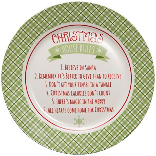 C.R. Gibson Porcelain Holiday Giving Plate, Dishwasher Safe, Plate Measures 11