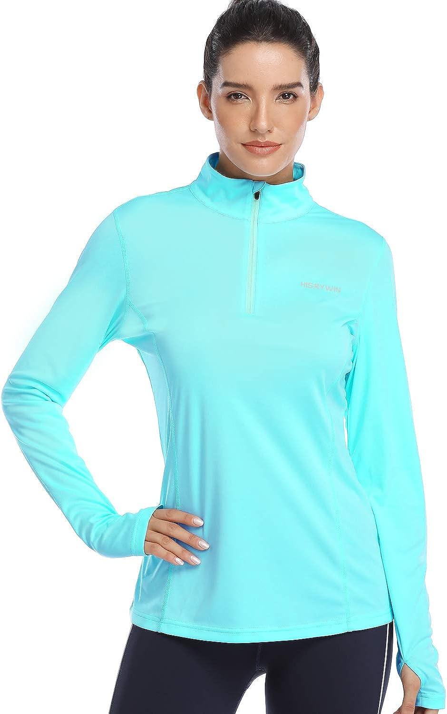 HISKYWIN Womens UPF 50+ Sun Protection Tops Long Sleeve Half-Zip Thumb Hole Outdoor Performance Workout Shirt