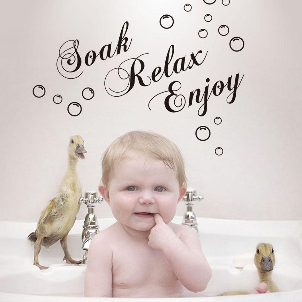 Beige TM 2015 Removable Words Soak Relax Enjoy Bathroom Background Wall Sticker Decor DZT1968