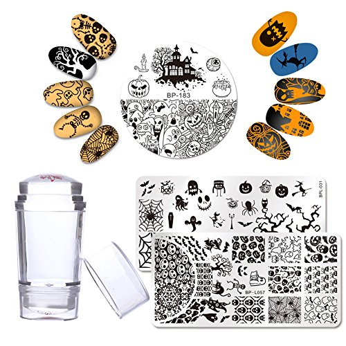 BORN PRETTY 3Pcs Nail Art Stamping Plate Halloween Pumpkin Ghost Manicure Print Template with 1Pc Double Head Jelly Stamper and Scraper (Nail Art Stamping Halloween)