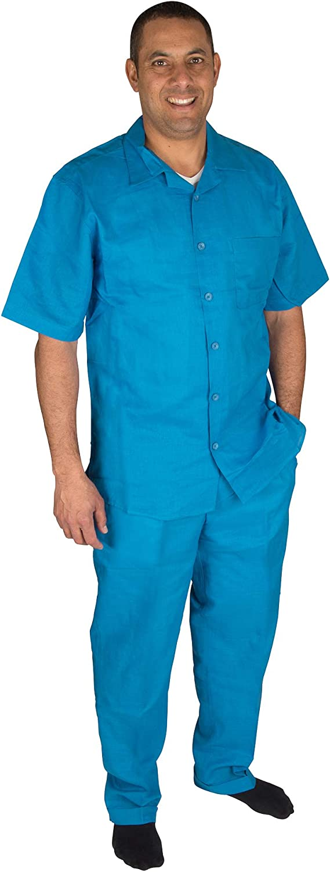 Vittorino Men's 100% Linen 2 Piece Walking Set with Long Pants and Short Sleeve Shirt