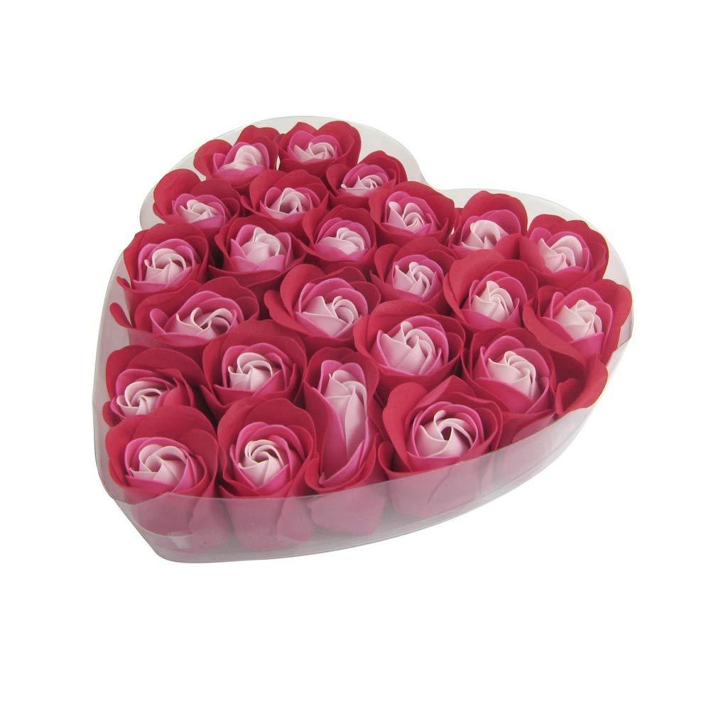 Flora profumato sapone da bagno aromatizzato ai fiori di rosa di colore rosso con contenitore di regalo di cuore per San Valentino 24pcs Hilai