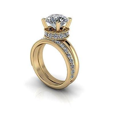 Sólido 14 K oro para mujer boda banda 3.04 ct. Anillo de compromiso de diamante simulado conjuntos de corte redondo color D claridad VVS1 solitario diamante ...