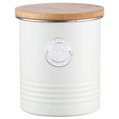 Typhoon Living Cream Coffee Canister, Airtight Bamboo Lid, Durable Carbon Steel Design with a Hard-Wearing Matte Coating, 33-3/4-Fluid Ounces
