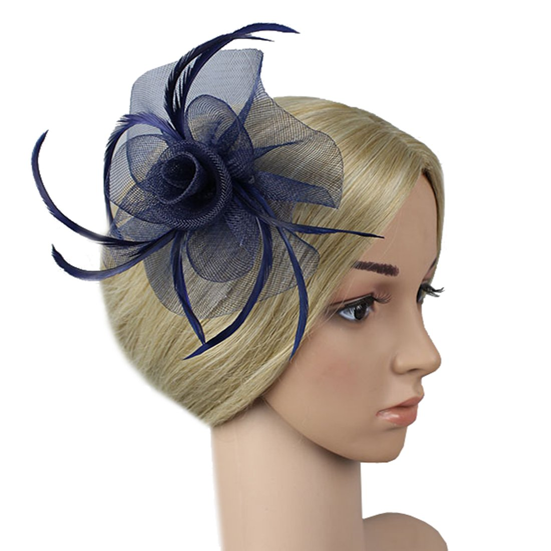 Free Yoka Womens Fascinators Feather Pillbox Hat Cute Beads for Cocktail Kentucky Derby Ball Wedding Church Party (Navy)