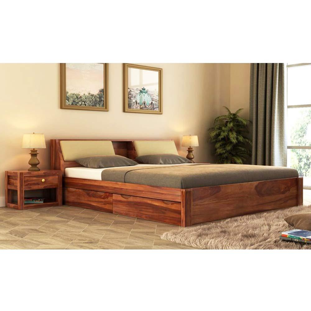 CasaStyle Experia Queen Size Teak Wood Bed  Teak Polish  Pure Teakwood Bed